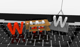 Website under construction. Letters www being built on the top of keyboard Stock Image