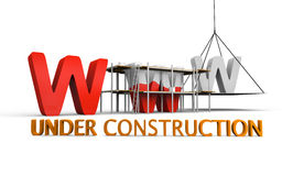 Website under construction. Simple website under construction concept with letters www being built and painted red Royalty Free Stock Image