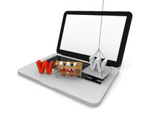 Website under construction. Letters www being built on the top of a laptop Stock Image