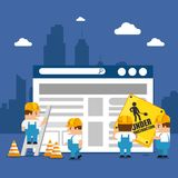 Website under construction background. With workers vector illustration graphic design Stock Photography