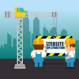 Website under construction background. With workers vector illustration graphic design Royalty Free Stock Photos