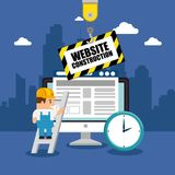 Website under construction background. With workers vector illustration graphic design Stock Photos