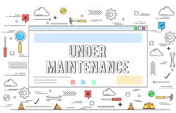 Website under construction concept line style illustration Stock Photography
