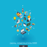 Website under construction integrated 3d web icons. Digital network isometric concept. Stock Image