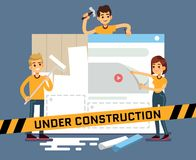 Website under construction vector cartoon concept with web designers. Web site under construction page, illustration of internet construct and development vector illustration