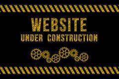 Website under konstruktionsvägmärke i guling vektor illustrationer
