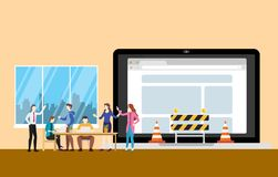 Website underconstruction concept with team people working on programming and construction symbol - vector stock illustration
