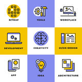 Website, user interface and mobile apps development icons Royalty Free Stock Photo
