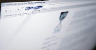 Website van Wikileaks.com - browser adresstaaf royalty-vrije stock fotografie