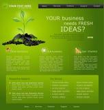 Website voor zaken. groen met groene spruit Stock Foto