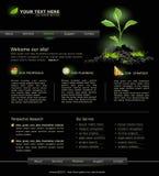 Website voor zaken. zwarte met groene spruit Stock Foto