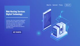 Website and weapplication hosting, server room rack, data exchange, file traffic, backup copy mobile phone isometric. Website and web application hosting, server vector illustration