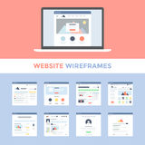 Website Wireframes. Vector set of flat website wireframes on laptop screen Royalty Free Stock Photo