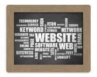 Website-Wolken-Wörter Stockfoto