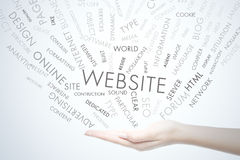 Website. Word and related term on hand Royalty Free Stock Image