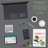 Websitebaner av ett affärsdesignbegrepp För kontorsarbete för bästa sikt tabell med grejer och dokument på en mörk bakgrund royaltyfri illustrationer