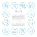 Websitebaner och landningsida av cancer stock illustrationer