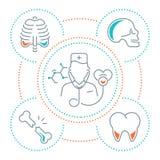 Websitebaner och landningsida av medicin royaltyfri illustrationer