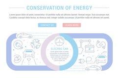 Websitebanner en Landende Pagina van Behoud van Energie vector illustratie