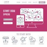 Websitebanner en Landende Pagina van de Lente Royalty-vrije Stock Fotografie