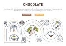 Websitebanner en Landende Paginachocolade Stock Afbeeldingen