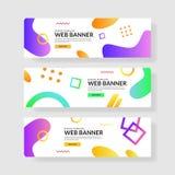 Websitebanner ui ux Kleurrijke geometrische achtergrond Vloeibare vormen met in gradiënten stock foto