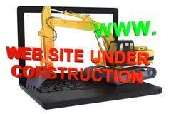 Websitebyggnad på bärbar dator under konstruktion Arkivfoto