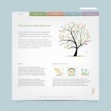 Websitedesignmall med det blom- trädet vektor illustrationer