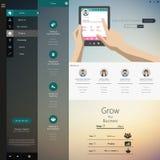 Websitedesignmall med UI-beståndsdelsatsen, plant designbegrepp Arkivbild