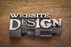 Websitedesigntext i metalltyp Arkivfoto
