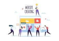 Websiteentwicklungskonzept Flache Leute-Charaktere Team Work Creating Web Page Benutzerschnittstellen-Mobile-Anwendung lizenzfreie abbildung