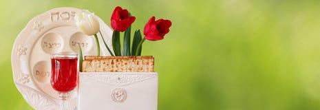 Websitefahnenhintergrund des Pesah-Feierkonzeptes (jüdischer Passahfestfeiertag) Stockbild