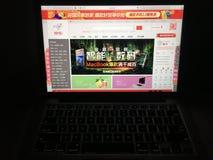 Websitehomepage auf Laptopschirm Lizenzfreies Stockbild