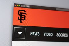 Websitehomepage Baseballteam Sans Francisco Giants Schlie?en Sie oben vom Teamlogo lizenzfreies stockfoto