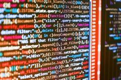 WebsiteHTML-kod på fotoet för bärbar datorskärmCloseup royaltyfri fotografi
