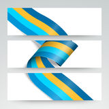 Websitekopbal of banner met glanzend lint wordt geplaatst dat Stock Fotografie