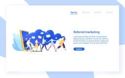 Websitemalplaatje met groep mensen of klanten die handen houden en van reuzesmartphone opstappen Verwijzing Marketing vector illustratie