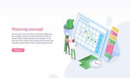 Websitemalplaatje met mens en vrouw die zich voor programma, tijdschema of kalender de bevinden Planning, taakbeheer stock illustratie