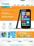 Websitemalplaatje voor collectieve bedrijfs en wolkendoeleinden. Stock Foto's
