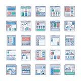 Websiten som planlägger plana symboler, packar royaltyfri illustrationer