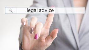 Websitenavigeringstång med den lagliga rådgivningen för text Arkivfoton