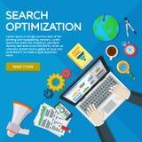 Websiteontwikkeling, zoekmachineoptimalisering Webanalytics elementen en marketing Deskundige in SEO Werkplaatsen van de manager  vector illustratie