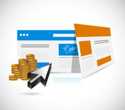 Websites templates and coins illustration Stock Images