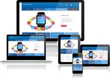 Websiteschablone auf mehrfachen Geräten Stockfotografie