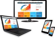 Websiteschablone auf mehrfachen Geräten Lizenzfreie Stockbilder