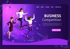 Websiteschablone Geschäftsentwurf Isometrisches Konzept Suchen nach Gelegenheiten Geschäftskonzeptführung und -teamwork stock abbildung