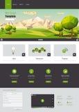 Websiteschablone WModern Eco mit flacher eco Landschaftsillustration Stockfotografie