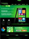 Websiteschablone zu den Firmenkundengeschäft- und Wolkenzwecken. Stockbild