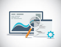 Websiteseo analyse en proces vlakke vector Stock Afbeeldingen