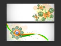 Websitetitel oder -fahne für indischen Tag der Republik und Unabhängigkeitstag Stockbilder